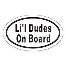 Li'l Dudes On Board Oval Bumper Stickers