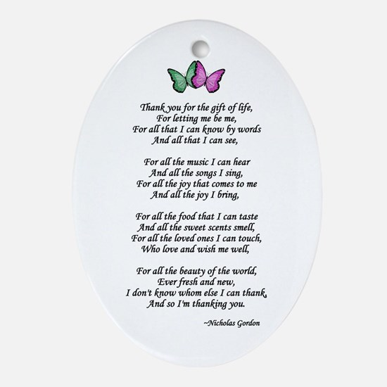 Gift of Life Poem Oval Ornament