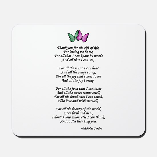 Gift of Life Poem Mousepad