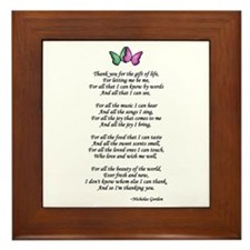 Gift of Life Poem Framed Tile