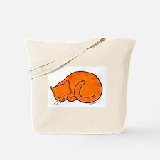 Orange Sleeping Cat Tote Bag