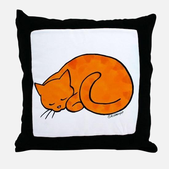 Orange Sleeping Cat Throw Pillow