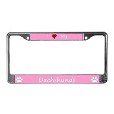 Pink I Love My Dachshunds License Plate Frame