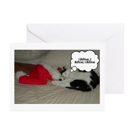 Christmas I Believe Kitty Cat Greeting Cards (Pk o