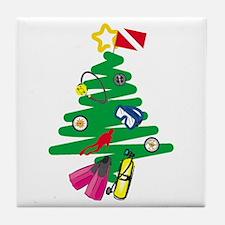 A Very Scuba Christmas Tile Coaster