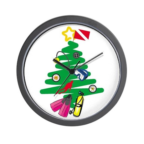 A Very Scuba Christmas Wall Clock