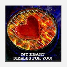 My Heart Sizzles For You Tile Coaster