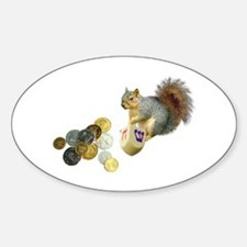 Dreidel Squirrel Oval Decal
