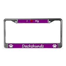 Purple I Love My Dachshunds License Plate Frame