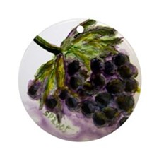 """Grapes on Tile"" Ornament (Round)"