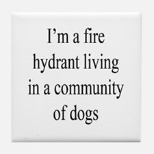 Fire Hydrant and Dogs Tile Coaster