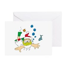 Ho! Ho! Ho! Scuba Santa Greeting Cards (Package of