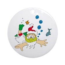 Ho! Ho! Ho! Scuba Santa Ornament (Round)