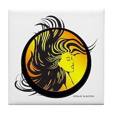 Wild Hair Girl Tile Coaster