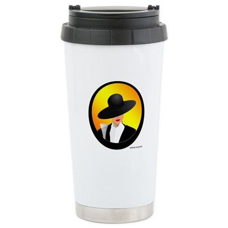Lady with Champagne Stainless Steel Travel Mug