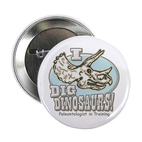 I Dig Dinosaurs Triceratops Button