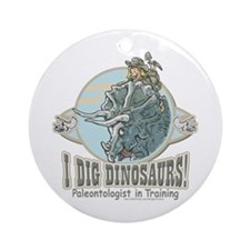 I Dig Dinosaurs Girl Ornament (Round)