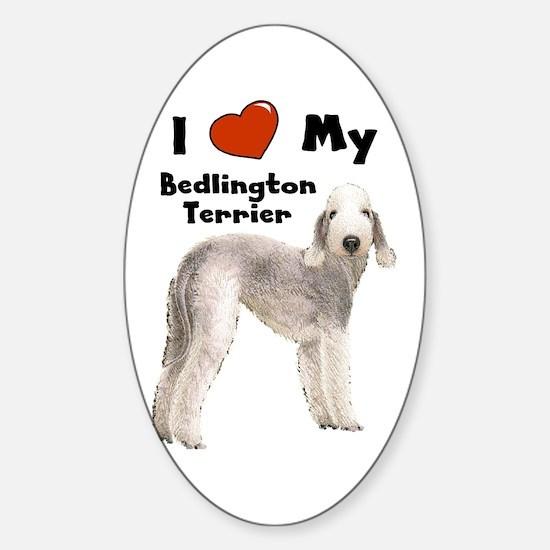 I Love My Bedlington Terrier Rectangle Decal