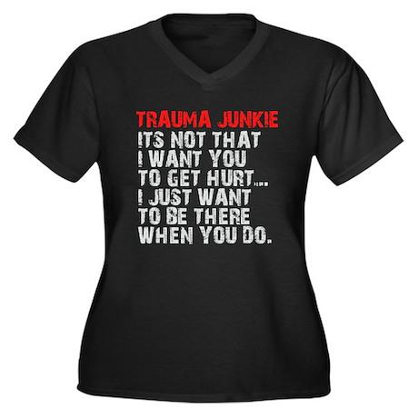 Trauma Junkie Women's Plus Size V-Neck Dark T-Shir