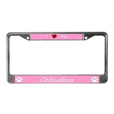 Pink I Love My Chihuahua License Plate Frame