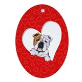 English bulldog christmas ornaments Oval Ornaments