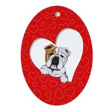 English Bulldog Lover Ornament (Oval)
