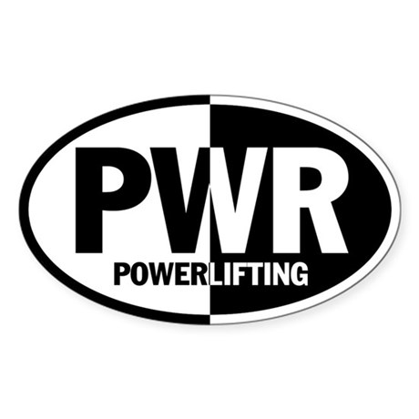 POWERLIFTING Sticker (WHITE Oval)