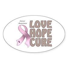Cancer Awareness Oval Sticker (10 pk)
