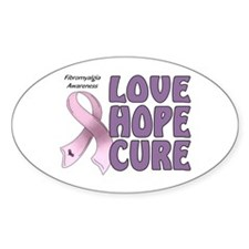 Fibromyalgia Awareness Oval Sticker (10 pk)