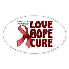 Heart Disease Awareness Oval Sticker (10 pk)