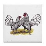 Silver Sebright Bantams Tile Coaster