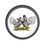 Silver Sebright Bantams Wall Clock