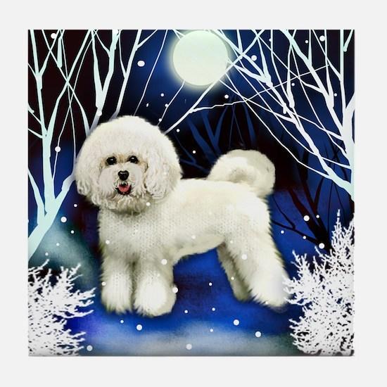 BICHON FRISE DOG WINTER NIGHT Tile Coaster