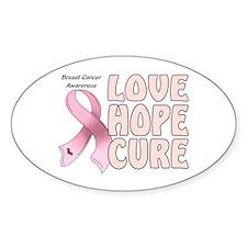 Breast Cancer Awareness Oval Sticker (10 pk)