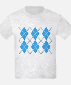 Blue on Blue Argyle Design T-Shirt