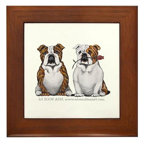 Bulldog Romance Framed Tile