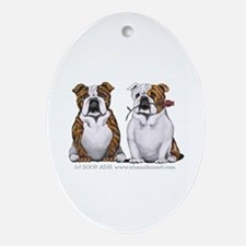 Bulldog Romance Ornament (Oval)