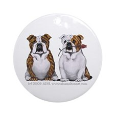Bulldog Romance Ornament (Round)