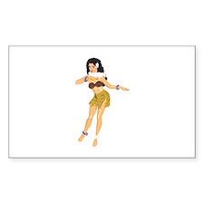 Hula Girl Rectangle Sticker 10 pk)