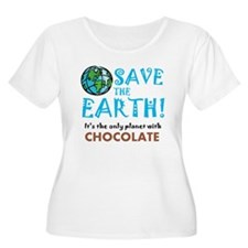 Save the Earth.. chocolate Women's Plus Scoop Neck