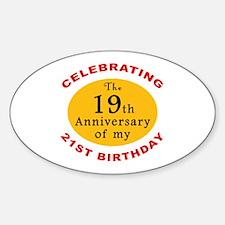 Celebrating 40th Birthday Oval Decal