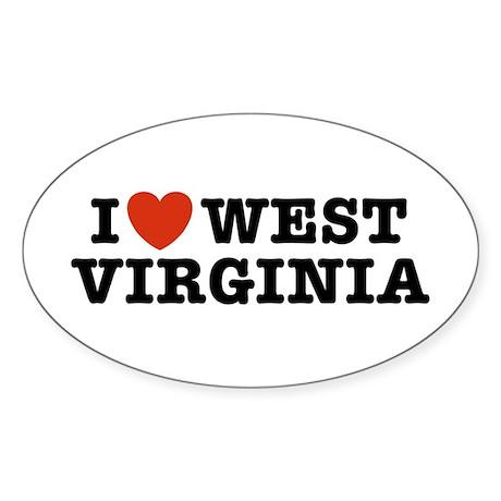 I Love West Virginia Oval Sticker