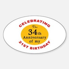 Celebrating 55th Birthday Oval Decal
