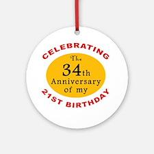Celebrating 55th Birthday Ornament (Round)