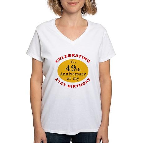 Celebrating 70th Birthday Women's V-Neck T-Shirt