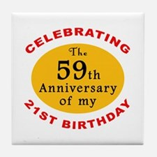 Celebrating 80th Birthday Tile Coaster