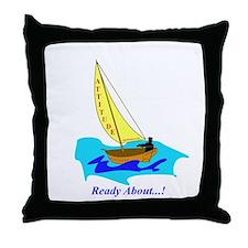 Attitude sail boat Throw Pillow