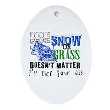 Ice, Snow or Grass - Snowmobile Racing Ornament (O