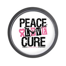 Breast Cancer PeaceLoveCure Wall Clock