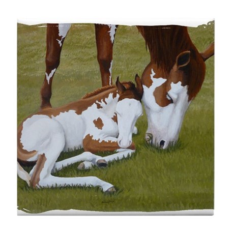 Paint Mare & Foal Tile Coaster